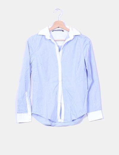 Camisa azul con ribetes blancos Zara