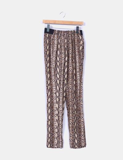 Pantalón baggy animal print pitillo Zara