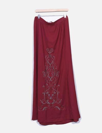 Saia vermelha maxi com bordados estampado floral Suiteblanco