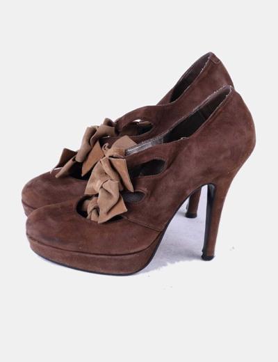 Blu lazos antelina Zapato Lolita marrón con qw6OxgTp