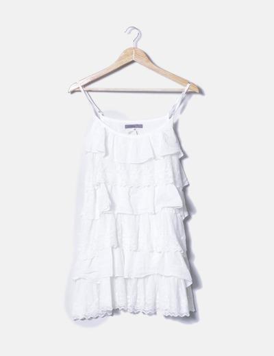 5e1cd3492 Ilusión Vestido volantes encaje blanco (descuento 84%) - Micolet