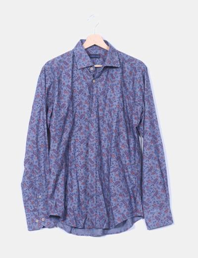Camisa azul estampado cachermira Roberto Bassi