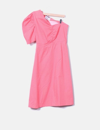 Robe rose vintage asymétrique à pois blancs Desert Mannequin X