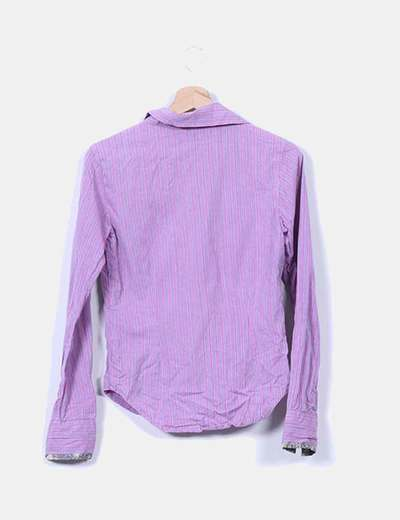 Camisa morada rayas rosas manga larga