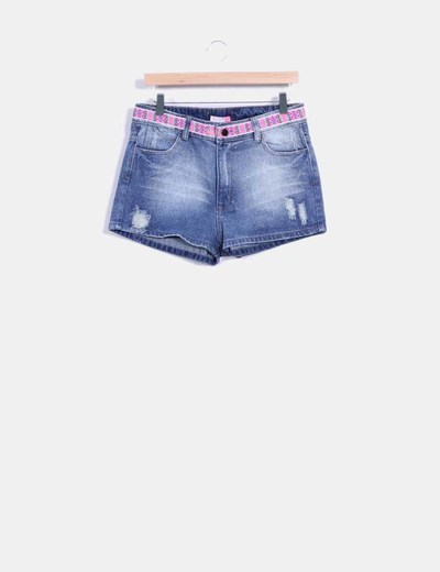 Short denim con tira etnica