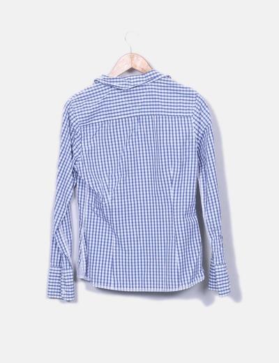 Camisa de cuadros azul y blanco
