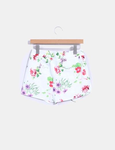 Falda pantalon blanco floral