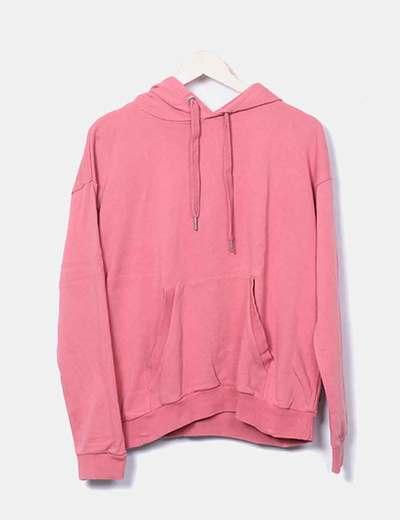 Sudadera con capucha rosa Bershka