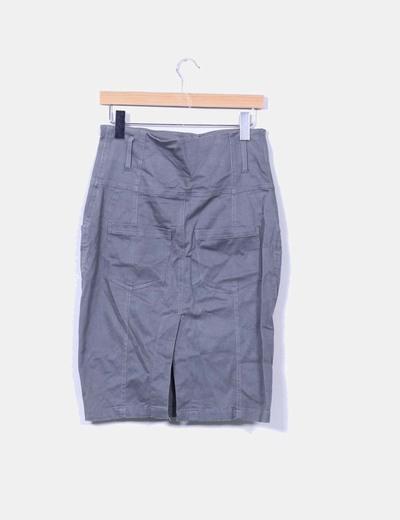Falda midi gris tiro alto