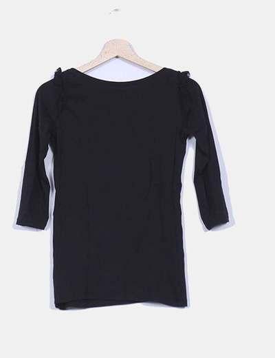 Manga Puntilla Volantes Camiseta Negra FrancesaDetalle Hombros v0mNwO8n