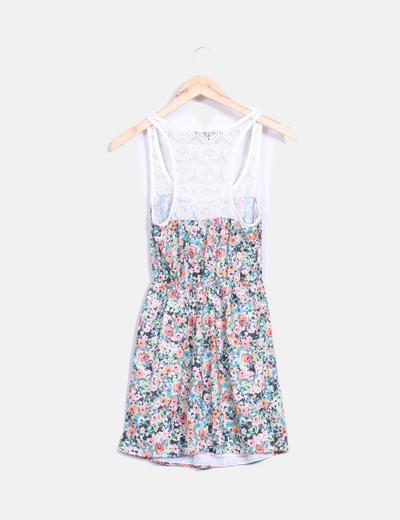 Vestido floral combinado