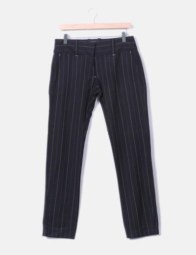 Pantalons pinstripe noir Vero Moda