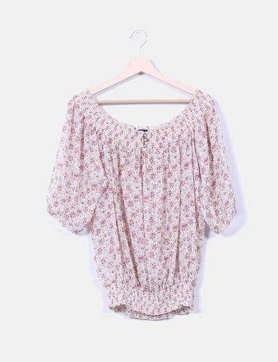 Blusa beige print floral Suiteblanco