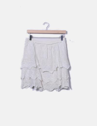 Falda beige vuelo crochet