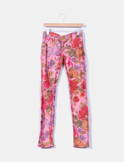 Jeans denim reversible rojo floral