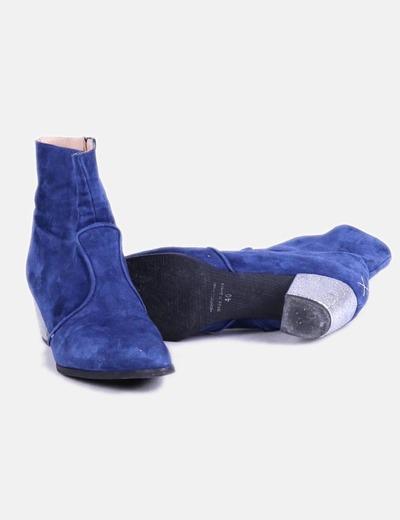 Botines azules de terciopelo