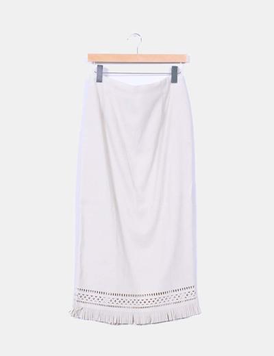 Maxi falda beige con flecos NoName