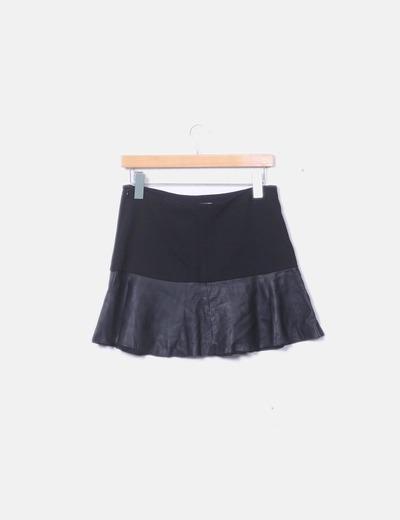 Zara Mini falda combinada negra volante (descuento 53%) - Micolet 534b60a58c80