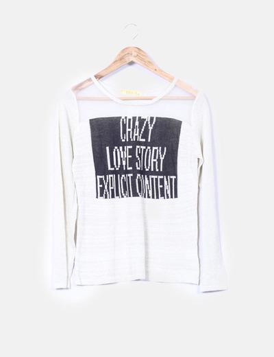 Camiseta semitransparente print letras Diamant Angel