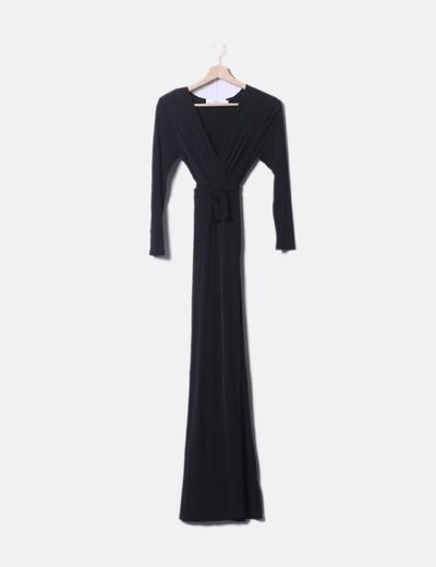 Vestido maxi negro elástico AWARE