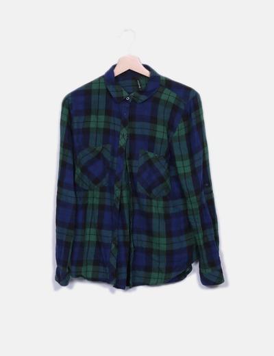 Camisa de cuadros azul marino y verde Stradivarius
