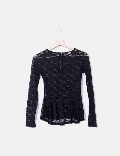 Blusa peplum encaje negro H&M