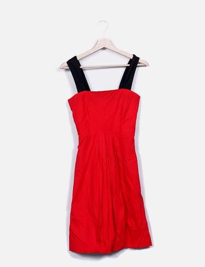 Vestido rojo midi tirante negro Mango