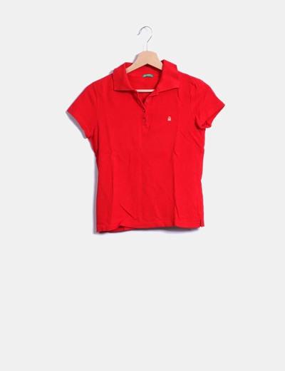 Polo rouge à manches courtes Benetton