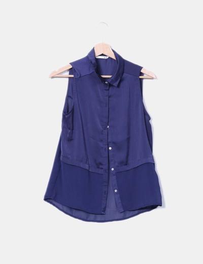 Blusa azul marina Lefties