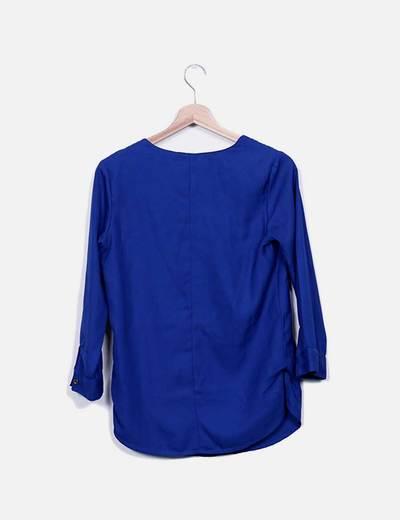 Blusa azul klein con cremalleras