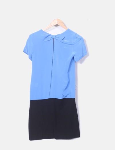 Vestido Azul Y Negro Escote Pico