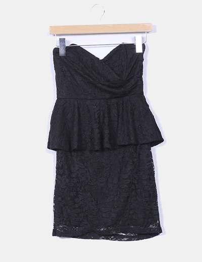 Vestido negro encaje peplum TFNC