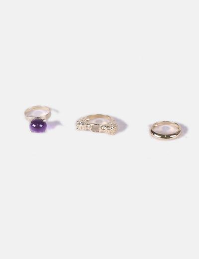 Pack anillos color dorado NoName