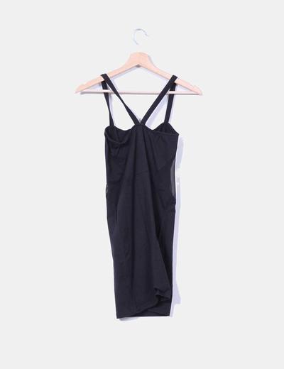 Vestido midi negro de tirantes combinado
