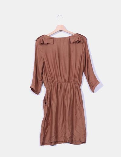 Vestido marron tacto suave