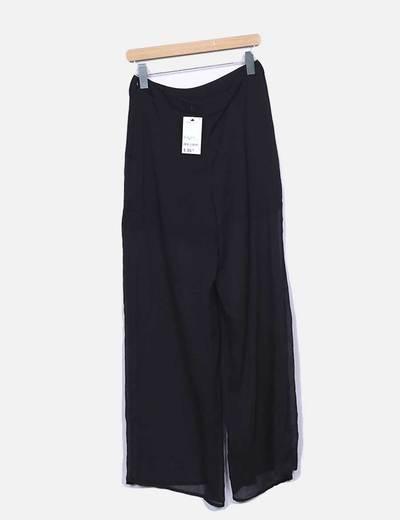 Pantalon fluido negro semitransparente
