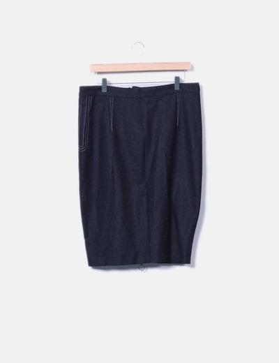 Falda tubo midi gris Bertyss