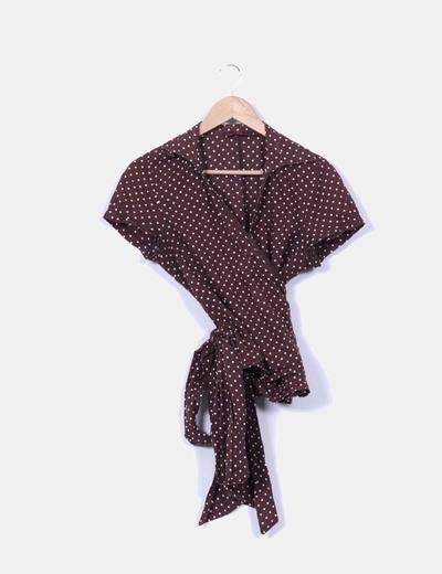 Blusa marrón con topos Vittorio