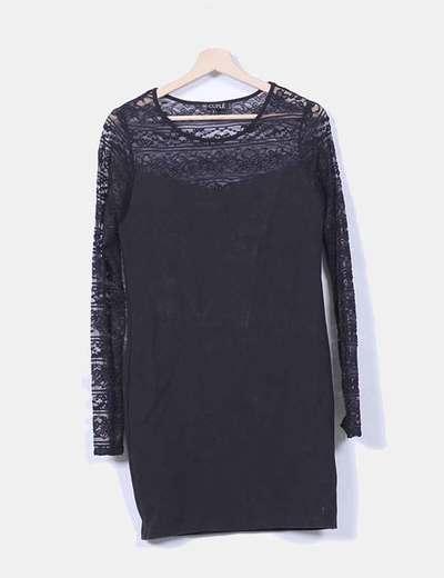 Vestido negro con encaje Cuplé
