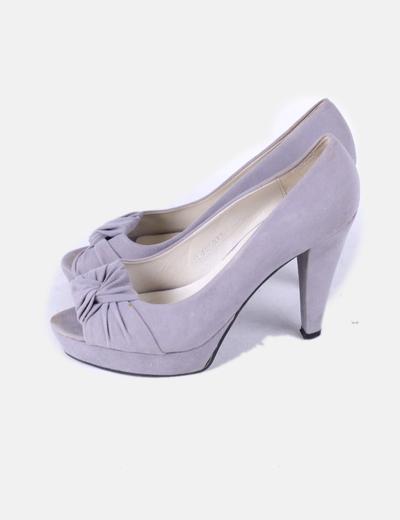 Zapato peep toe gris Best Shoes