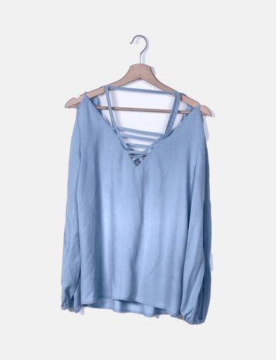 Blusa azul tiras