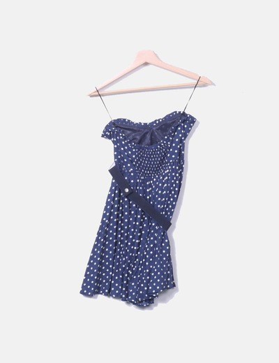Vestido Azul Marino Con Lunares