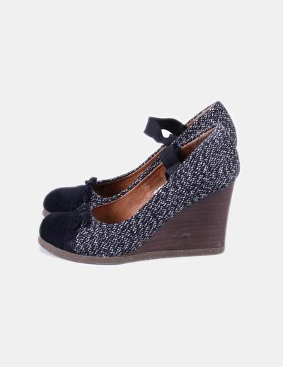 Chaussure à talon multi-couleurs compensé texturé deux Scholl