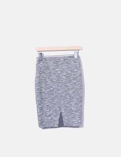 Falda cruzada gris jaspeada con abertura