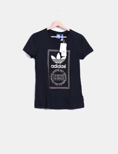 Camiseta negra print dorado Adidas