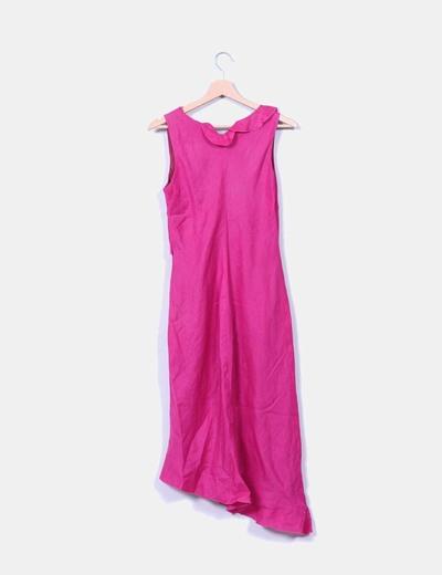 Vestido midi rosa escote avolantado
