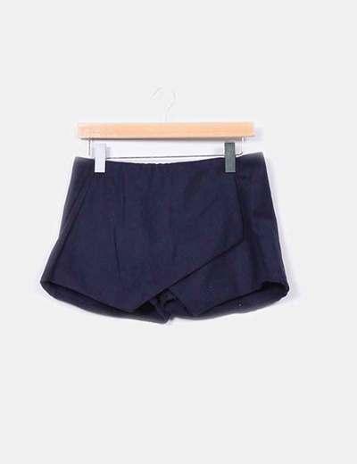Mini falda pantalón azul marino paño  NoName