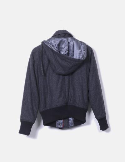 nuevo estilo rebajas outlet grande descuento venta Chaqueta de lana gris con capucha