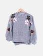 Jersey gris flores bordadas TINONEL