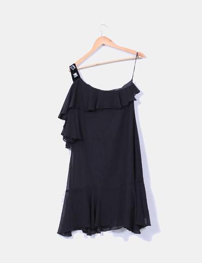 Vestido midi negro con volante detalle hombro